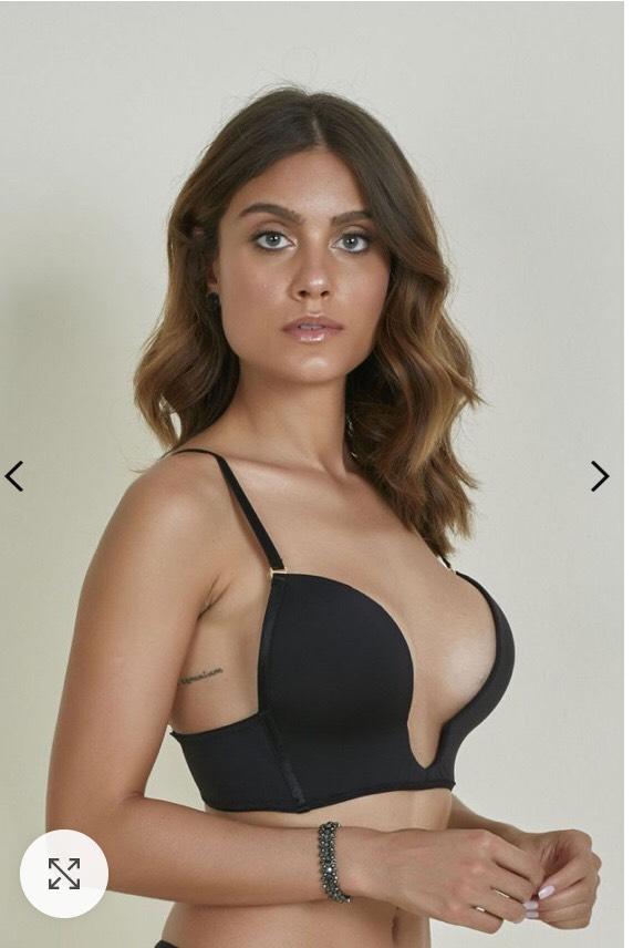 Amanda:  Deep neckline black bra | Bras