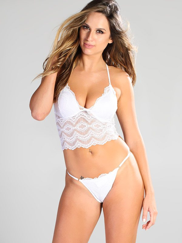 Andressa:  Elegant lace available in white and black | Sets